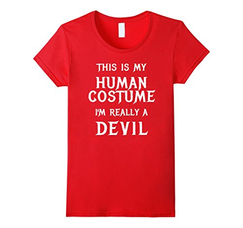 Devil Costume Womens Diy (Womens I'm Really a Devil Halloween Costume Shirt Easy Funny Tshirt Small Red)