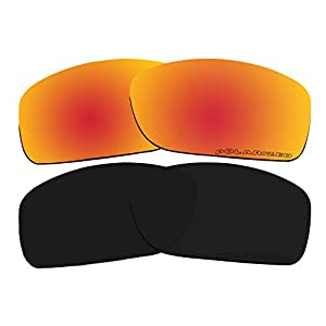 2 Pairs Lenses Replacement Polarized Red & Black for Oakley Canteen 2014 (Canteen New) OO9225 Sunglasses