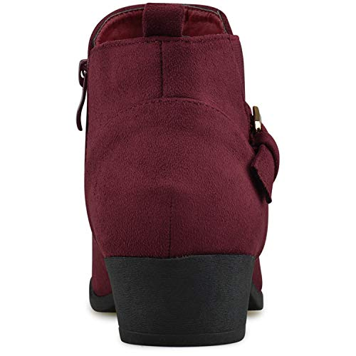 Low Bootie Standard Casual Comfortable Heel Strappy Closed Boot Toe Women's Premier V3 Wine Walking Buckle qRxA0gxY