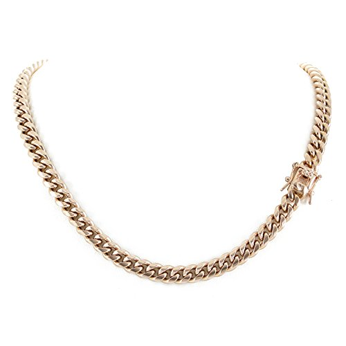 Harlembling Men's Miami Cuban Link Chain 14k 18k Yellow Gold White Or Rose Gold Plated Stainless Steel 8-18mm Thick (Rose Gold 8mm, 28) ()