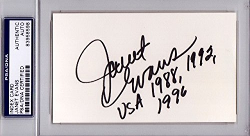 Janet Evans Autographed Signed Olympic Swimming 3x5 Index Card with Inscriptions - 4x Gold Medalist - PSA/DNA Authenticity (COA) - PSA Slabbed Holder from Sports Collectibles Online