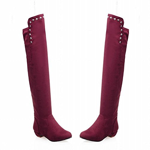 Carolbar Mujeres Tachonado Encantos De La Moda Date Party Rivet Low Heel Dress Botas Wine Red