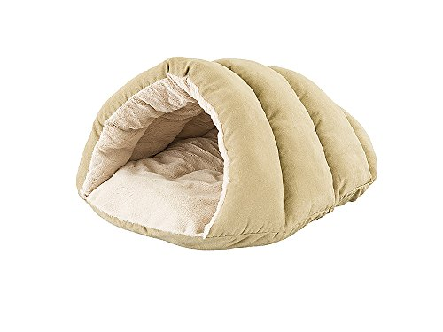 Spot Sleep Zone Cuddle, Faux Suede Cave Dog Bed - Fabric Bottom - 22X17 Inches/Tan / Attractive, Durable, Comfortable, Washable Ethical Pets