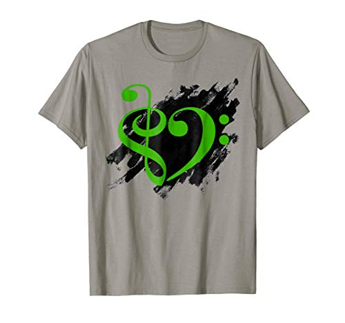 Treble Clef + Bass Clef Musical Heart Grunge Music Lover Kelly Green Notes Bassist T-Shirt