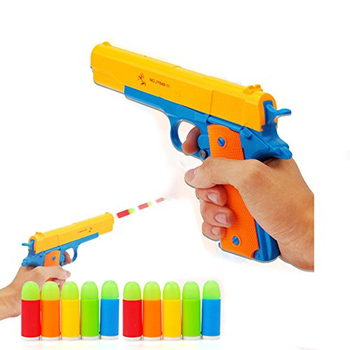 Children's Colorful Toy Gun Mauser Toy Pistol, Kids Classic m1911 with Soft Noctilucent Bullets, Teach Shooter and Gun Safety for Fun Outdoor Game and Children Safe Play