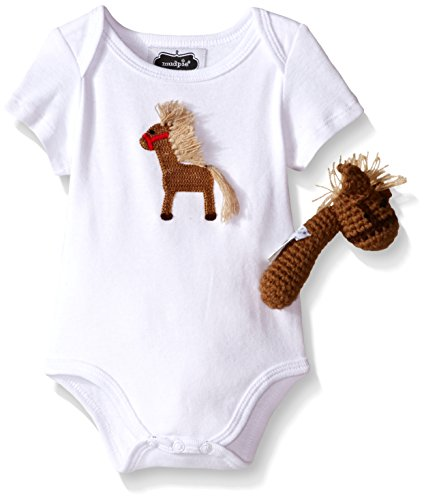 rawler and Rattle Gift Set, White, 0-6 Months (Horse Infant Rattle)