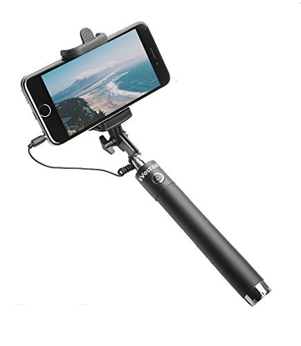 Freckle Wired Selfie Stick for All Smart Phone- Black