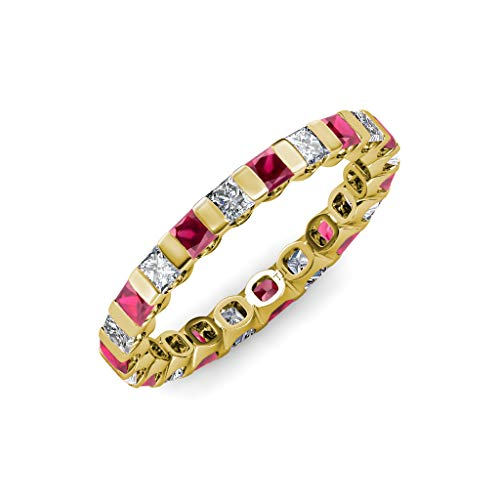 TriJewels Ruby & Diamond Common Channel Set 3 mm Eternity Band 2.52 ctw-3.15 ctw 14K Yellow Gold.size 6.0 ()