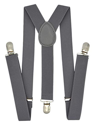 Trilece Kids Boys Suspenders - Girls Toddler Baby - Adjustable Elastic Y Back and Strong Clips - Various Solid Colors (Gray) from Trilece