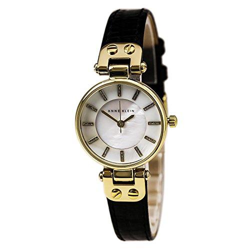 Anne Klein Women's AK/1950MPBK Gold-Tone and Black Leather Strap Watch