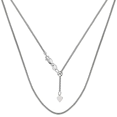 14k White Gold Adjustable Popcorn Link Chain Necklace, 1.3mm, 22