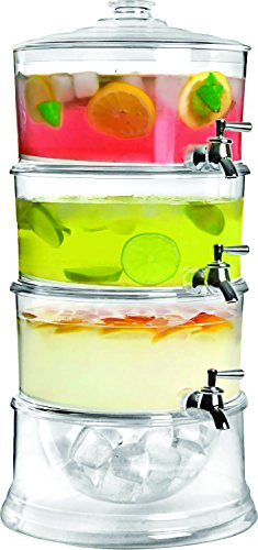 Jumbl Stackable 3-Gallon Beverage Serve-Chilled Dispenser | 3-Tier Ice Chamber Base & Cooling Shafts