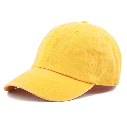 efd91177 The Hat Depot 100% Cotton Pigment Dyed Low Profile Six Panel Cap Hat  (Yellow)