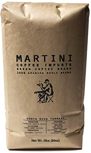 5LBS - Unroasted Green Coffee Beans - Single Origin - Costa Rica Tarrazu -100% Raw Green Arabica Coffee Beans - (Tarrazu Region, Costa Rica, Central America) 5 Lb Green Coffee