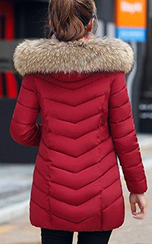 Rojo BLACKMYTH Largo Pelo Outwear Capa Vino Abrigo Mujer Parka Chaqueta Capucha Invierno Abajo q6T7rg6