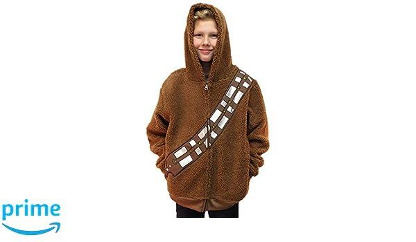 STAR WARS Chewbacca Costume Hoodie Kids Youth Zip Up Sherpa