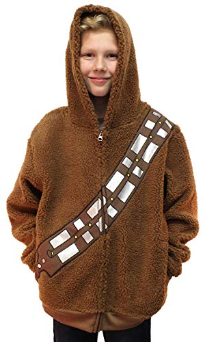 Star Wars Chewbacca Costume Hoodie Kids Youth Zip Up Sherpa Jacket -