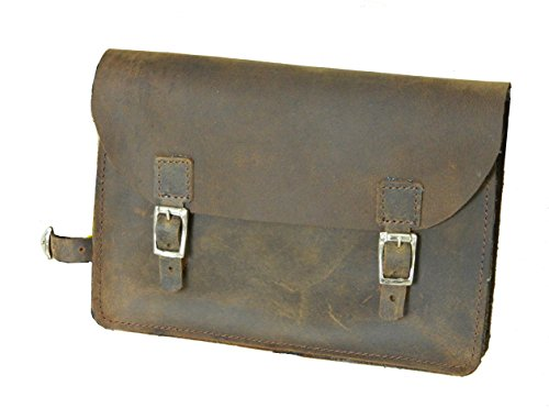 Bicycle frame bag genuine leather vintage bag small pouch tool kit brown - Vintage Frame Bag