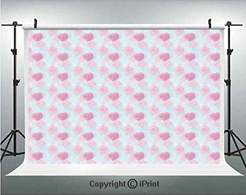 Peach Photography Backdrops Rose Flowers Leaves Buds Natural Themed Image Soft Toned Abstract Background Decorative,Birthday Party Background Customized Microfiber Photo Studio Props,10x6.5ft,Pale Pin ()