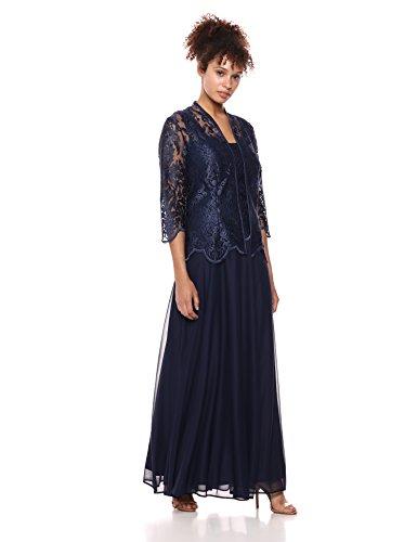 - Alex Evenings Women's Sleeveless Dress and Matching Jacket Two-Piece Set, Midnight, 12P