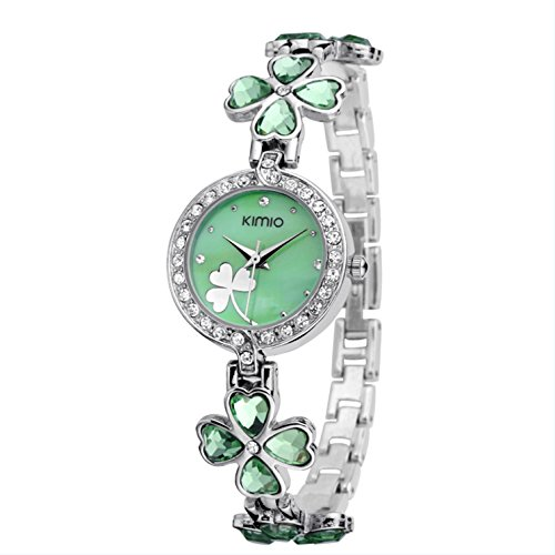 Ledhill KIMIO Shamrock Crystal Flowers Stainless Steel Link Ladies Bracelet Quartz Watch K456L (GREEN) ()