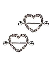"BODYA 2pcs colorful CZ Gem Paved love heart Heart Nipple Shield Ring body piercing jewerly 14GA 7/8"" Length"