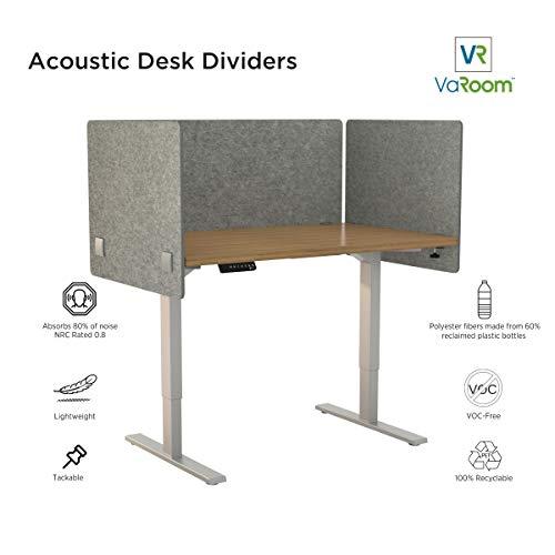 "VaRoom Acoustic Partition, Sound Absorbing Desk Divider – 48"" W x 24""H Privacy Desk Mounted Cubicle Panel, Ash Grey by VaRoom (Image #4)"