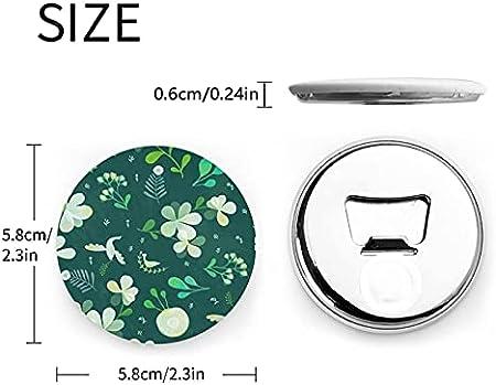 Abrebotellas redondos de hierba y paloma / Imanes de nevera Sacacorchos de acero inoxidable Etiqueta magnética 2 piezas