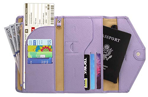 Zoppen Multi-purpose Rfid Blocking Travel Passport Wallet (Ver.4) Tri-fold Document Organizer Holder, Lavender Purple ()