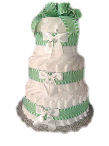 Classic Pastel Baby Shower Diaper Cake (3 Tier, Green) by Rubber Ducky