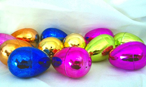 "12 Metallic Easter Eggs, 2 1/2"" x 1 3/4"""