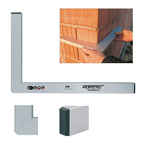 DEWEPRO/® Aluminium Bauwinkel 90/° Messwinkel 100x50cm Maurerwinkel Aluwinkel Winkel Profilwinkel