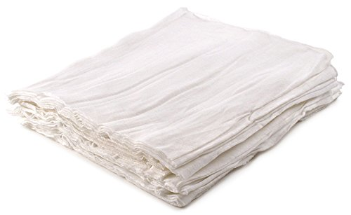 Buffalo Industries (61000) White Ideal-Cut Wiper Cloth Rags, (Pack of 25)