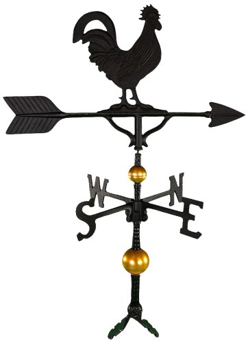 Montague Metal Products 32-Inch Deluxe Weathervane with Satin Black Rooster Ornament