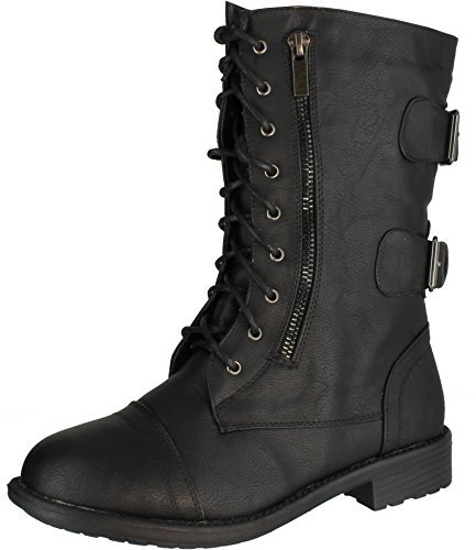 Top Moda Women's Pack-72 Lace Up Combat Boot (8 B(M) US, Black) -