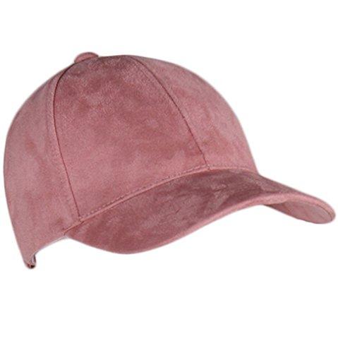 (Unisex Men Women Suede Baseball Cap Snapback Visor Sport Sun Adjustable Hat (Pink))