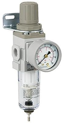 "PneumaticPlus SAW200-N02BG Miniature Compressed Air Filter Regulator Piggyback Combo 1/4"" NPT - Poly Bowl, Manual Drain, Bracket, Gauge"