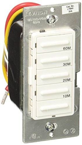 Leviton LTB60-1LZ Decora 1800W Incandescent/20A Resistive-Inductive 1HP Preset 10-20-30-60 Minute Countdown Timer Switch, 10-Pack