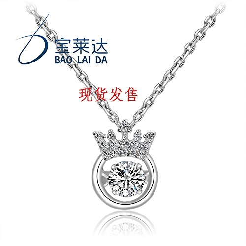 Generic South_ Korea _beating_ heart crown pendant necklace women girl s925 silver simple heart beat_Smart_ clavicle chain birthday gift