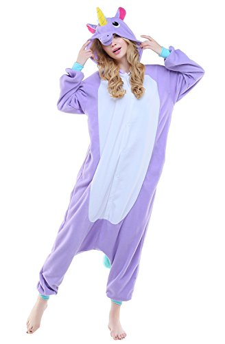 Adult Unisex Halloween Party Cosplay Pajama Animal Unicorn Costume (S, Purple New Unicorn) (Unicorn Halloween Costume Adults)
