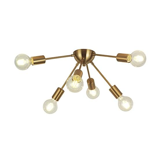 VINLUZ 6-Light Sputnik Chandelier Brass Mid Century Modern Ceiling Light Retro Chandelier Lighting for Kitchen Dining Room Bedroom Hallway Foyer - -Metal Chandelier Lighting, industrial Style.One 6-socket ceiling flush mount light fixture with matching stem and canopy. -Easy to install:all the arms are pre-wired, includes all mounting hardware for quick and easy installation. -Dimmable: fully dimmable when used with a dimmable bulb and compatible dimmer switch. - kitchen-dining-room-decor, kitchen-dining-room, chandeliers-lighting - 41L6ua9EKTL. SS570  -