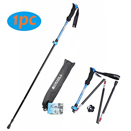 Review Yahill Folding Trekking Pole Collapsible Stick Ultralight Adjustable, Alpenstocks with EVA Foam Handle, for Travel Hiking Camping Climbing Backpacking Walking ((Standard- Blue) -1 pc)