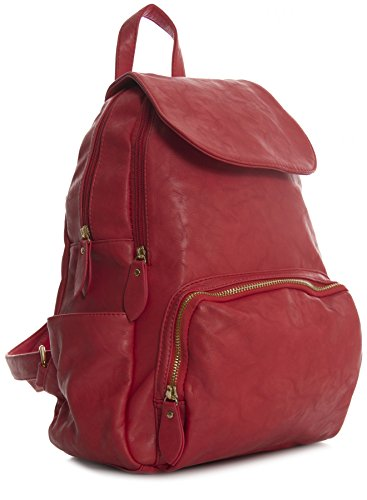 Red Plain Faux Backpack Vegan Shop Medium Unisex Big Zip Gold Size Shoulder Leather Opening Medium Handbag Flap Bag AFw8IqZv