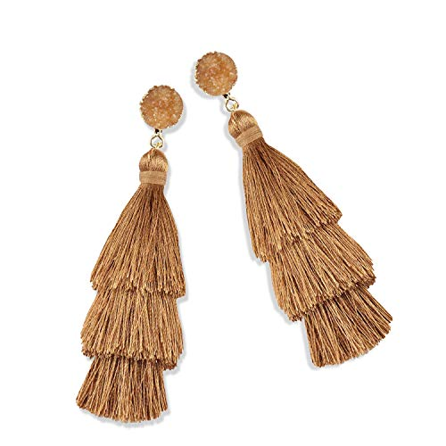 - Statement Tassel Earrings for Women Drop Dangle Handmade Tiered Thread Layered Bohemian Beach Party Girl Novelty Fashion Summer Accessories - E3 Light Brown