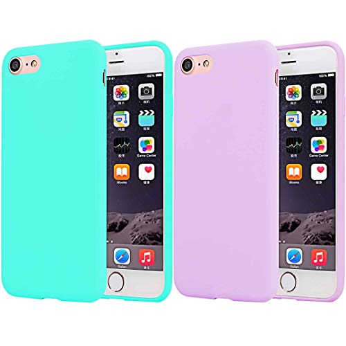 ([2pack] CaseHQ Compatible with iPhone 6 Case/iPhone 6S Case, Ultra Thin Slim Fit Silicone Gel Rubber TPU Shell Cover,Shock Absorption and Anti Scratch Finish-Teal+Pink)