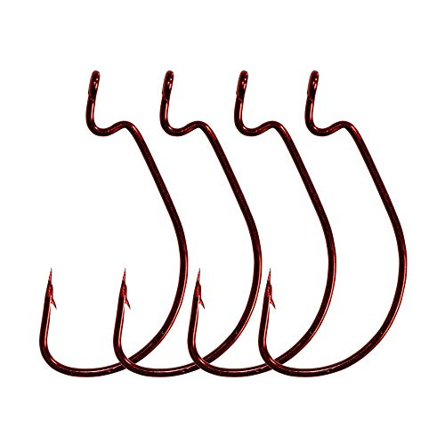 LikeFish 30pcs/Pack Offset Worm Fishing Hooks Black/Red Color Fishing Hook (Red, 4/0)
