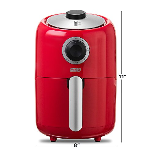 Dash Compact Air Fryer 1.2 L Electric Air Fryer Oven Cooker with Temperature Control, Non Stick Fry Basket, Recipe Guide + Auto Shut off Feature - Red by Dash (Image #7)