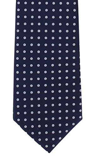 Navy Highlight Spot Silk Tie by Michelsons of (Spot Woven Silk Mens Tie)