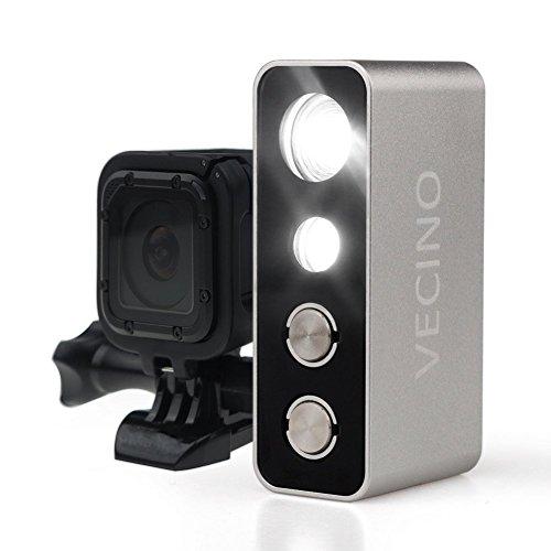 VECINO Action Video Lampe Tauchlampe Taucherleuchte 600lm, bis 60m Tiefe, wiederaufladbar, passend für GoPro und andere Action Kameras