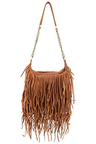 D&K Monarchy Genuine Leather Boho Fringe Bag by D&K Monarchy